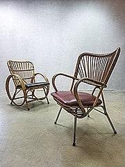 Rohe Noordwolde vintage design rotan lounge stoel, vintage rattan armchair Rohe Noordwolde