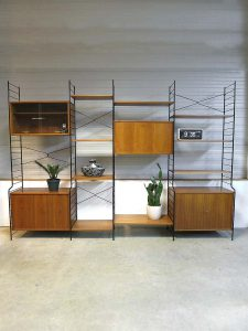 Mid century design wall unit Danish style, Deens vintage design wandmeubel