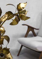 hollywood recency brass flower lamp vintage H. Kogl