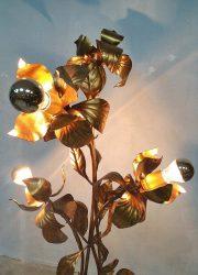 Midcentury modern brass flower floor lamp Hans Kögl