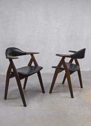 Midcentury design dining chairs cowhorn style, vintage design eetkamer koehoorn stoelen