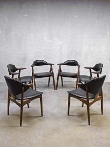 Set fifties koehoorn eetkamer stoelen