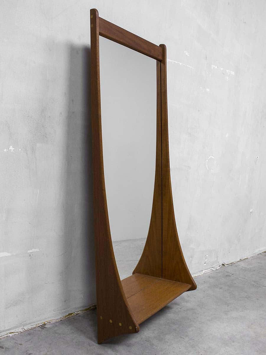 danish vintage teak mirror deens design spiegel pedersen. Black Bedroom Furniture Sets. Home Design Ideas