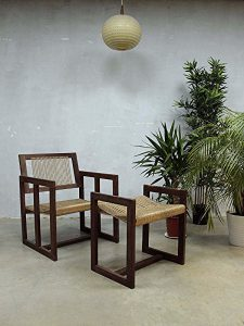 vintage design rope chair & ottoman 'nature', vintage touwstoel