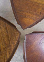 Poul Jensen vintage nesting tables, Deense bijzettafels miniset Poul Jensen