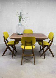 Webe vintage design dining table dinner table & chairs Louis van Teeffelen eetkamertafel & stoelen