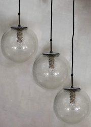 Midcentury design hanglamp bollamp Limburg Glashutte pendant lamp