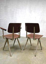 Galvanitas vintage Industrial chairs, vintage schoolstoelen industrieel