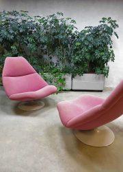Artifort vintage design swivel chair, Artifort draaifauteuil 'schelp' model F591 Geoffrey Harcourt