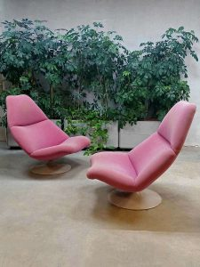 Artifort vintage design swivel chair, Artifort draaifauteuil 'schelp' model F591 Geoffrey Harcourt