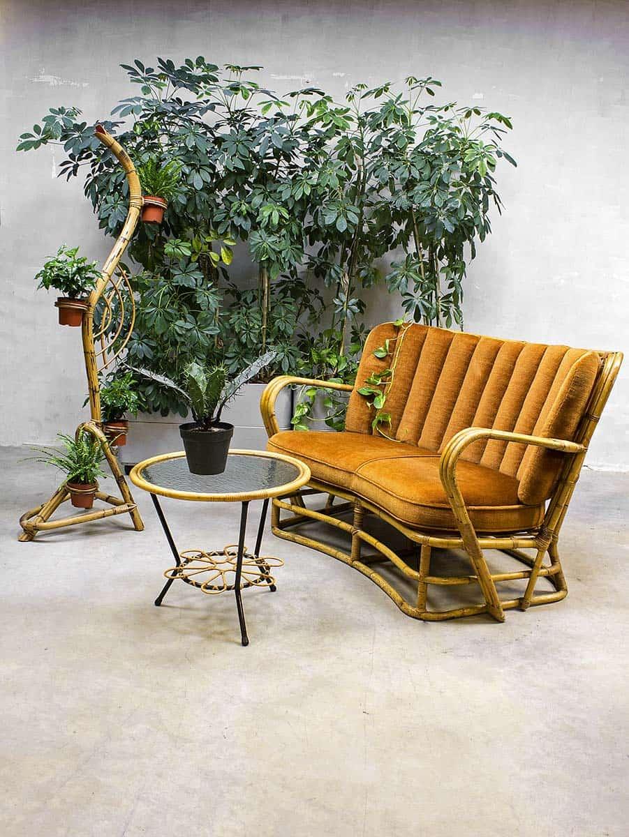 Rotan vintage design lounge set vintage design rattan sofa chair - Rotanbank plaatsen ...