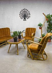 Rotan vintage design lounge set, midcentury design rattan sofa rattan armchairs rattan table