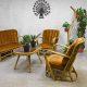 Rotan vintage design lounge set, midcentury design rattan sofa rattan armchairs rattan table