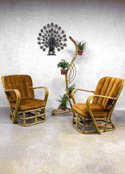 Rotan vintage design lounge chairs armchairs midcentury modern