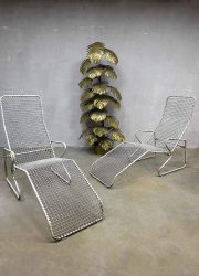dfauteuil ligbed garden chairs mid century design metal wire chaise lounges deck chair