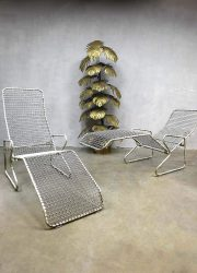 Vintage draadfauteuil ligbed minimalism garden chairs mid century design metal wire chaise lounges deck chair