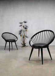 Yngve Ekström vintage design circle chair Swedish, vintage cirkel spijlen stoel Yngve Ekstrom