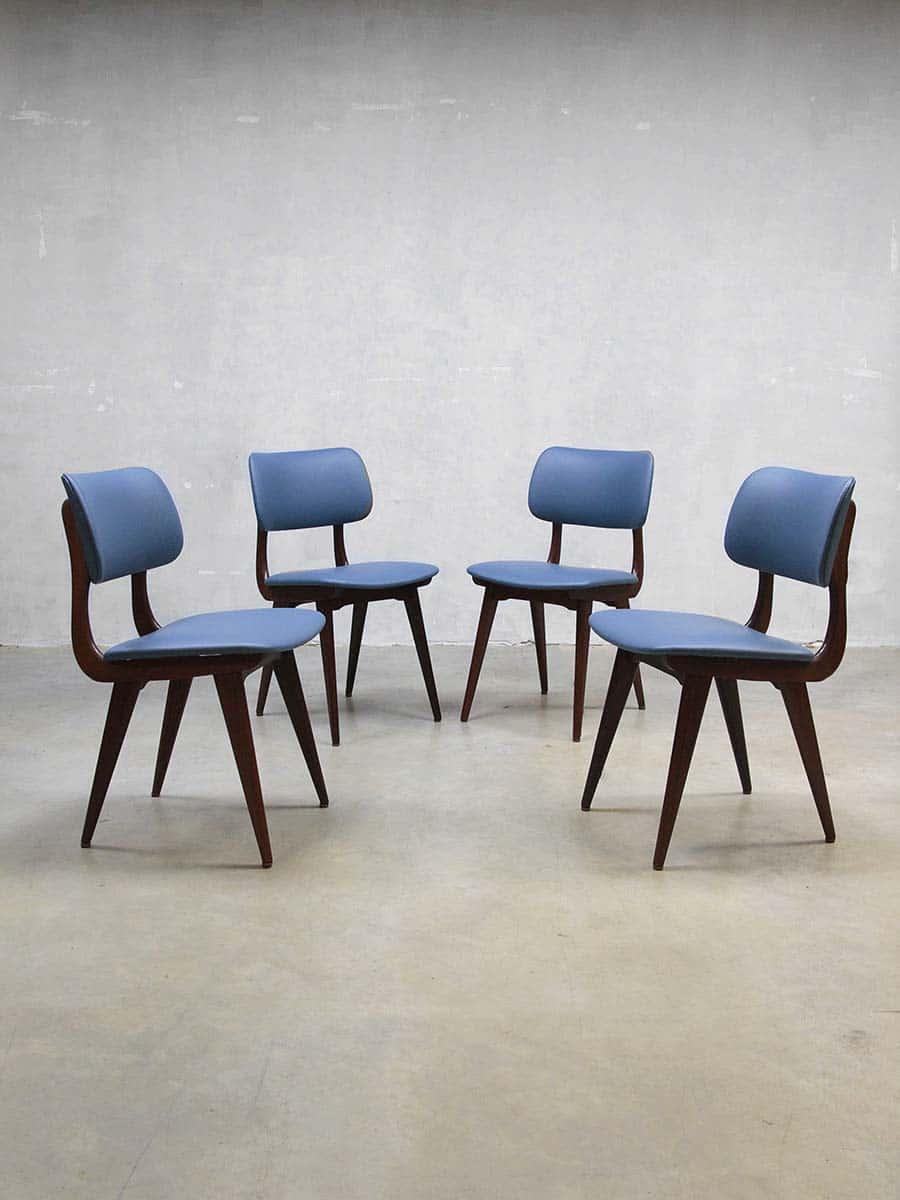 Vintage design eetkamerstoelen Webe Louis van Teeffelen dinner chairs