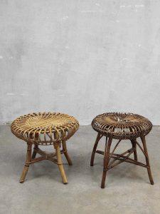 Vintage Franco Albini rattan stool ottoman, rotan vintage kruk Franco Albini stijl