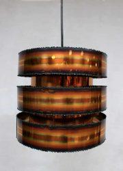 Brutalist vintage copper pendant lamp by Holm-Sørensen , vintage design koperen hanglamp Holm Sorensen