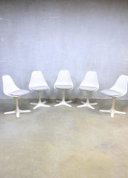 Arkana vintage design tulip dining chairs, vintage eetkamerstoelen Arkana