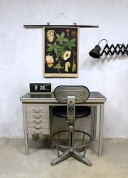 Industrial vintage writing desk Backfield, industrieel mid century bureau