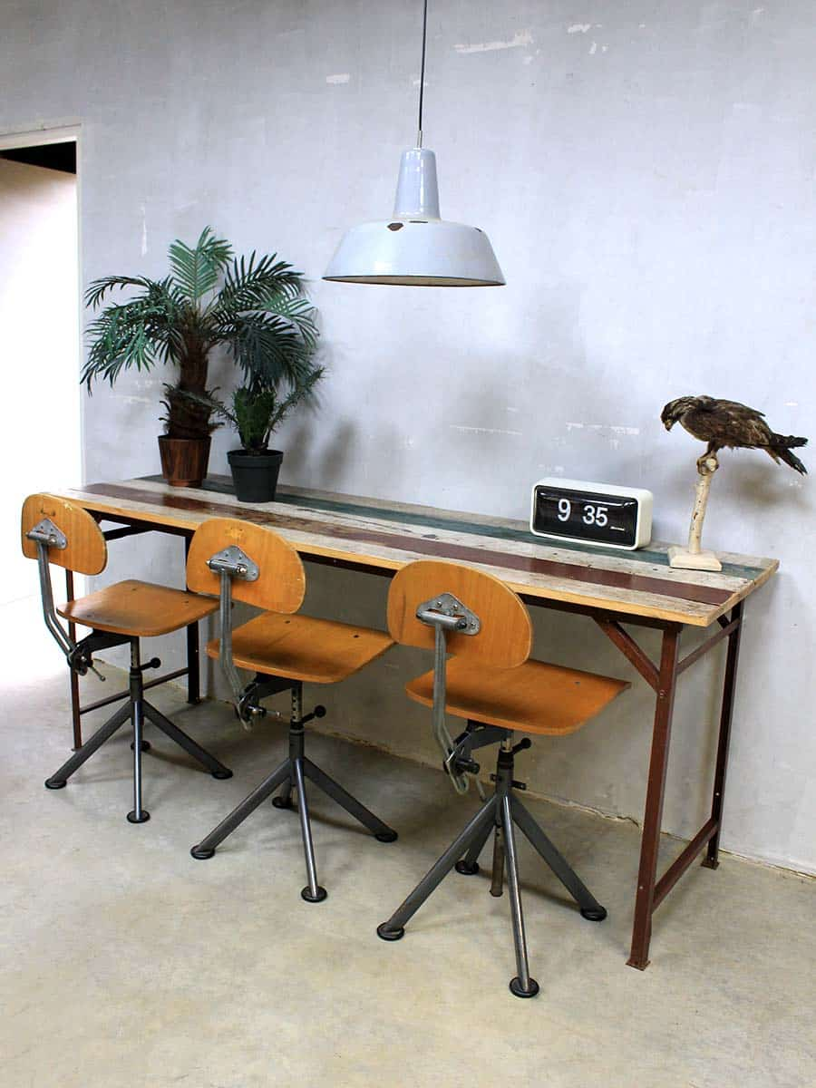 Industri le tafel bureau sloophout vintage sidetable table desk industrial - Tafel eetkamer industriele ...