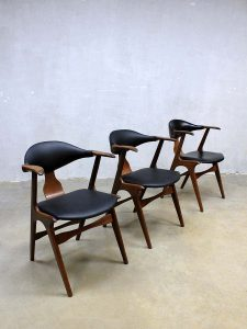 Vintage cowhorn chairs koehoorn eetkamerstoelen Louis van Teeffelen