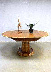 Eclectic vintage midcentury design Bamboo dining table, vintage design Bamboe eetkamer tafel