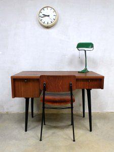 Dutch vintage design desk 'minimalism', vintage teak bureau