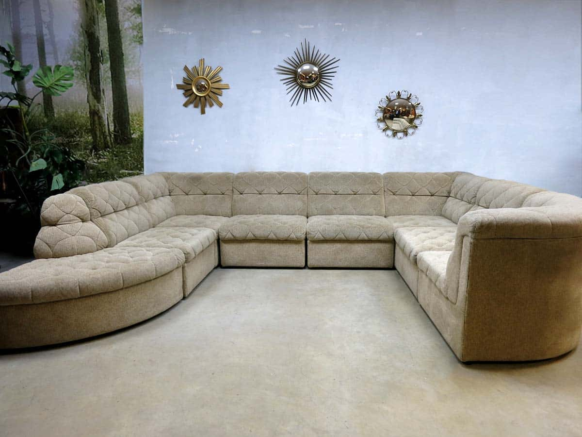 Hoekbank Jaren 60.Vintage Midcentury Vintage Design Lounge Bank Sofa