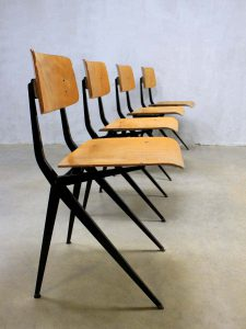 Vintage Industrial Marko school chairs beech, industriële schoolstoelen Marko