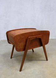 Vintage naaikistje bijzettafeltje, mid century roll top sewing box