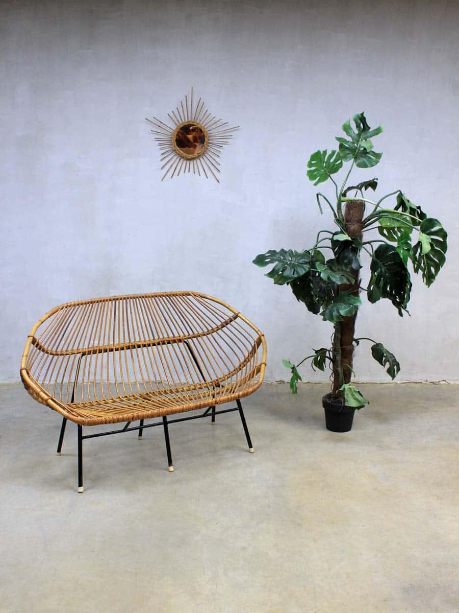 Vintage design rotan lounge bank sofa rohe noordwolde - Rotanbank plaatsen ...