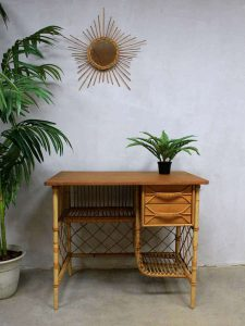 Vintage rotan bamboe bureau Louis Sognot, French rattan bamboo desk Sognot