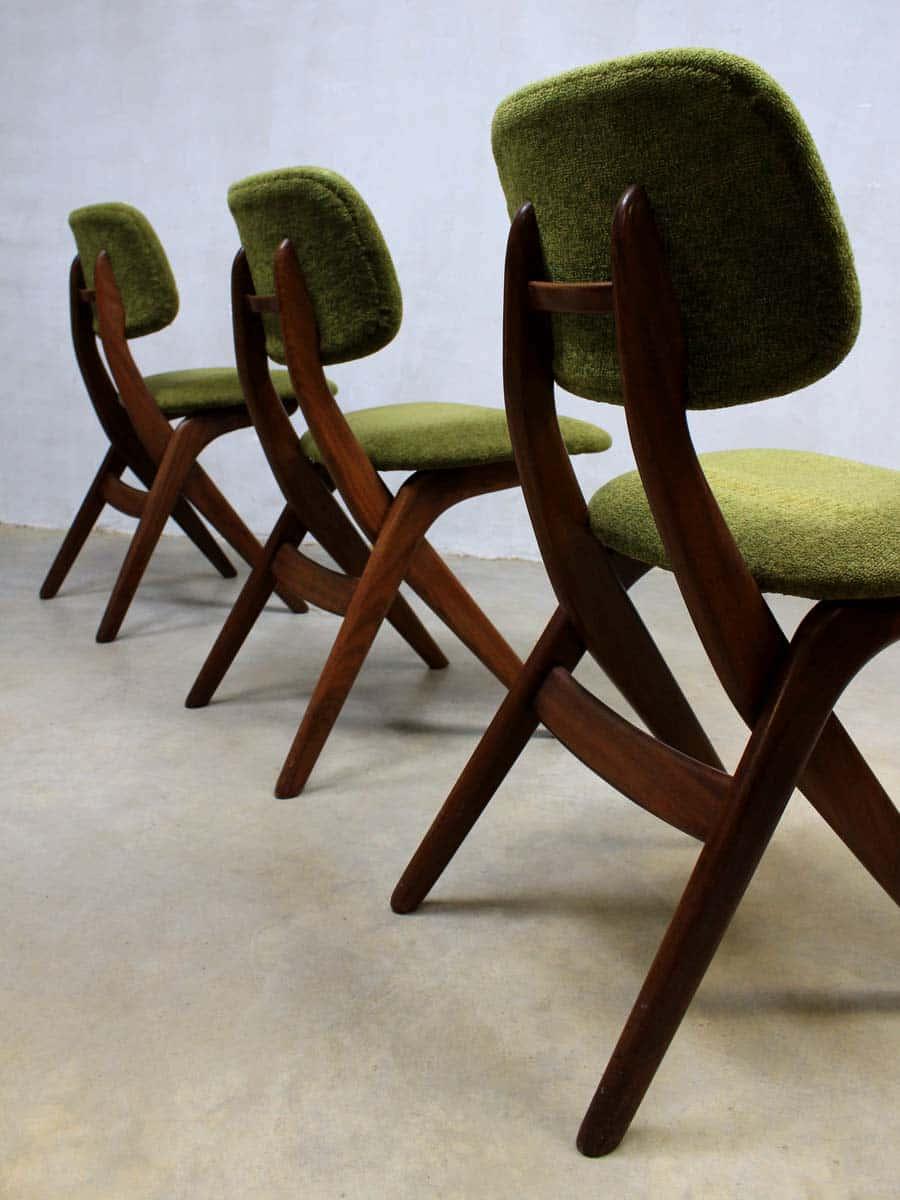 Webe vintage design eetkamer stoelen louis van teeffelen for Vintage stoelen