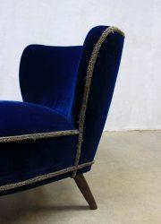 Vintage velours cocktail stoel, fifties vintage velvet cocktail chair expo chair
