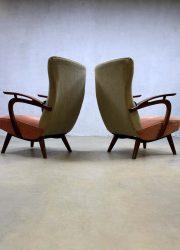 Mid century vintage design wingback chairs, vintage design oorfauteuils Deense