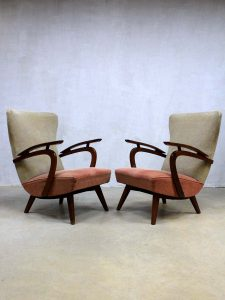 vintage design wingback chairs, vintage oorfauteuils lounge chairs Deense stijl
