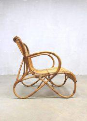 vintage rotan lounge stoel, vintage rattan armchair Rohe Noordwolde