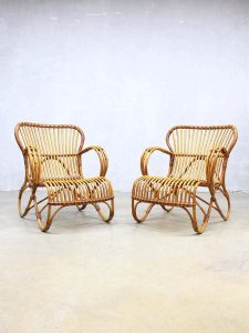 Mid century vintage rotan lounge chairs Rohe Noordwolde