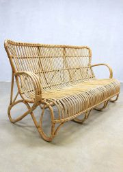 Mid century vintage rotan bank Rohe, vintage rattan set lounge sofa Rohe
