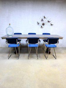 Vintage design buisframe stoelen vergaderstoelen Gispen stijl, vintage office chairs Gispen style