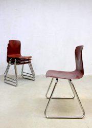 vintage schoolstoelen stapelstoelen Galvanitas industrieel