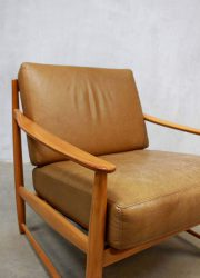 vintage leather armchair easychair Danish