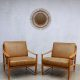 Mid century Danish design lounge chairs, vintage Deense lounge stoelen