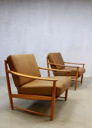 vintage leren lounge fauteuils Deens, Vintage leather lounge chairs midcentury