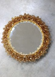 Vintage design mirror lamp gold Palwa, Mid century vintage spiegel lamp Palwa goud