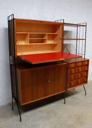 vintage design secretaire wandkast wallunit