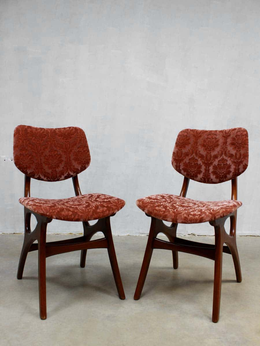 Mid century velvet dinner chairs dining chair vintage eetkamerstoelen deense stijl - Deco eetkamer oud ...